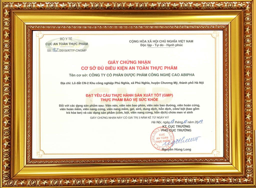 Nhà máy công nghệ cao Abipha được cấp giấy chứng nhận GMP