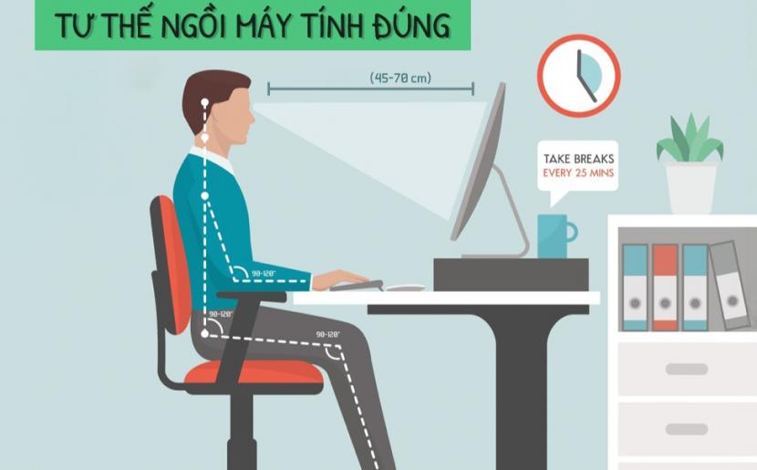 Phòng một số bệnh thường gặp khi ngồi máy tính
